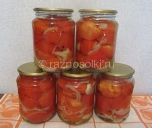 Салат на зиму из резанных помидор рецепт