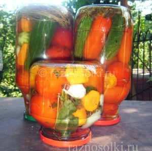 Консервированные помидоры с овощами