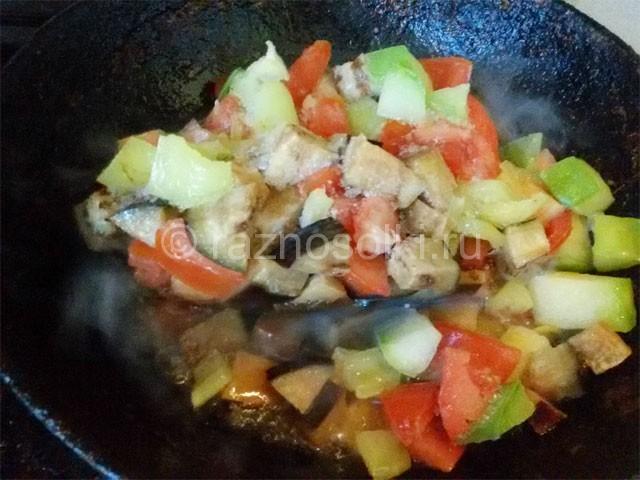 разморозка овощей на сковороде