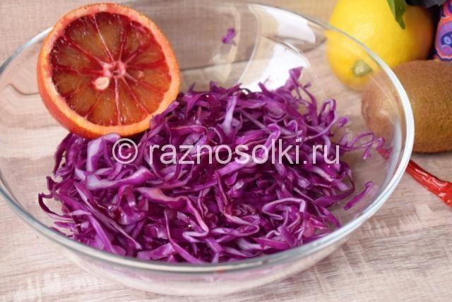 Рецепт салата из красной капусты с морковью