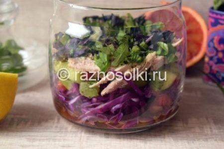 Слой зелени в салате