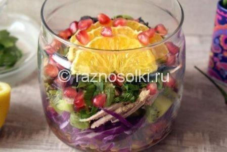 Кружочки апельсина в салате